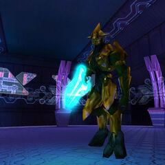 Uno zelota in Halo: Combat Evolved che impugna una Lama Energetica