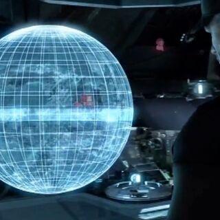 Hologramm an Bord der <i>Spirit of Fire</i> zeigt den Angriff auf Arcadia