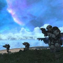 Vier Marines beim Angriff auf den <a href=