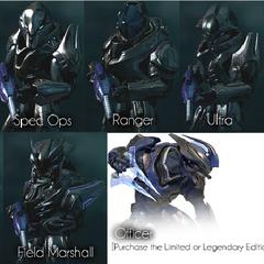 Le varie armature degli elite indossabili in Halo:Reach