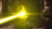Harvester firing mining laser