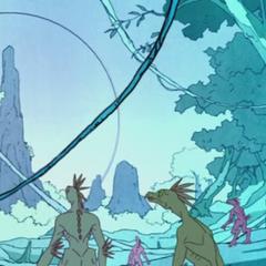 I Kig-Yar primitivi sul loro pianeta natale, <a class=