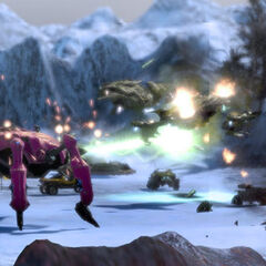 A squadron of Hornets supported by a Sparrowhawk in an early build of <i>Halo Wars</i>.