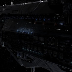 A side-view of UNSC <i>Infinity</i> without the accompanying starships.