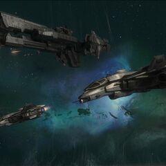 两架军刀号飞过UNSC 莎瓦纳号护卫舰。