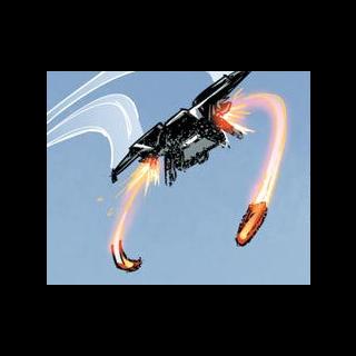 Ein Skyhawk beim abfeueren zweier Scorpion-Raketen.