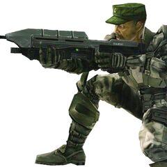 Il sergente Johnson che impugna un MA5C.