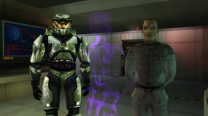 Master Chief sul ponte con Keyes e Cortana