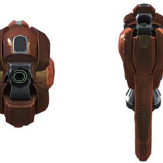 Das Typ-50 Erschütterungsgewehr aus der vorderen und hinteren Perspektive.