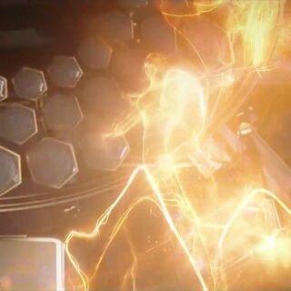 Durch den Energieausstoß wird eine menschliche Silhouette sichtbar