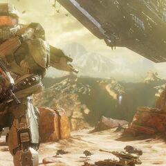 The Master Chief with UNSC forces and UNSC <i>Infinity</i> in the background.