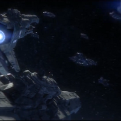 UNSC <i>Infinity</i> and her <i>Strident</i>-class heavy frigates about to engage the Covenant forces over Requiem.