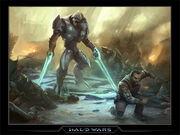 Inquisidor (Halo wars) amenazando con acabar con el Marine de la UNSC