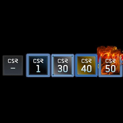 Fünf exemplarische KFR-Logos. Der Strich bedeutet, dass der Spieler die Spielliste seit Einführung noch nicht gespielt hat.
