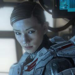 Sarah auf dem Kommandodeck der Infinity.