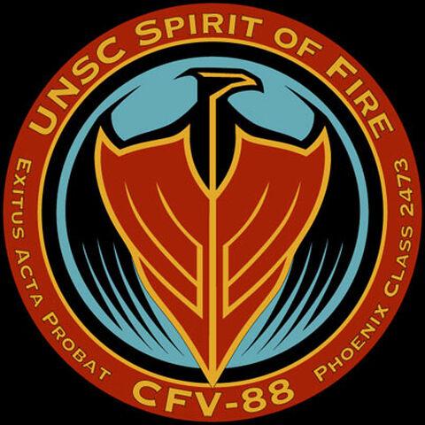 The logo of UNSC <i>Spirit of Fire</i>.
