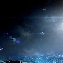 光环2周年纪念版中几架魅影号飞离博爱之城。