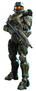 John-117 in render with MA5D wielded down