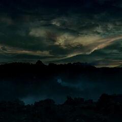 Die Oberfläche des Alpha-Bruchstück bei Nacht