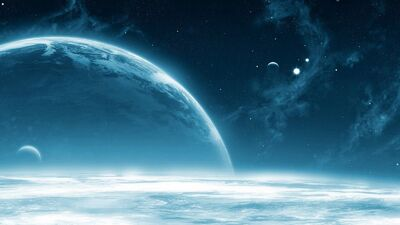 The Blue Ice Planet From The Cold Blue Solor System