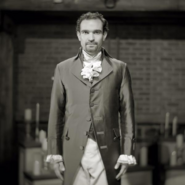 Javier Muñoz as Alexander Hamilton black and white