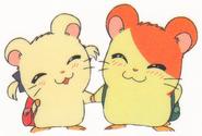 Hamtaro-stickerbook-panini-hamtaro-bijou-holding-hands