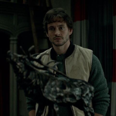 Will notices the stag statue in Hannibal's office.
