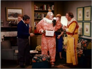 Clarabell and Buffalo Bob visit the Cunninghams