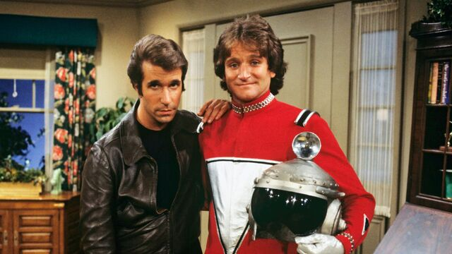File:Mork from Ork and Fonzie Happy Days.jpg