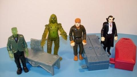 1997 BURGER KING UNIVERSAL STUDIOS MONSTERS SET OF 4 MINI FIGURES KID'S MEAL TOY REVIEW