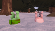 Glggles and Flippy stuck in snow
