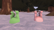 Glggles and Flippy (no shirt) stuck in snow