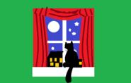 Big Picture - Cat peeking out of window at night
