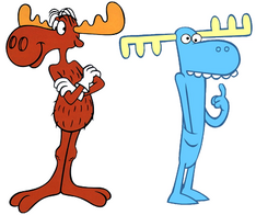 Two cartoon moose