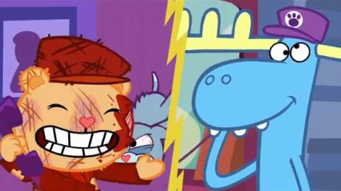 "Pop's scream from ""Doggone It"" reused in many Happy Tree Friends episodes"