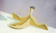 He'll slip and fall on this banana peel