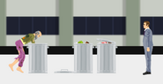 Hobo and the trash cans
