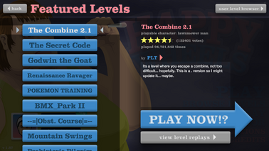 Featured Levels Menu