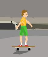 Irresponsible son on skateboard