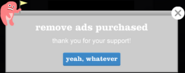 Remove Ads Purchased Message