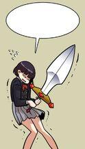 Kang Ji-hyun trying to pick up the Sword of Honor (Troll Trap Episode 48)
