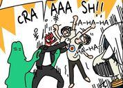 Taek angrily shaking Yopi whilst Yopi laughs (Episode 6)