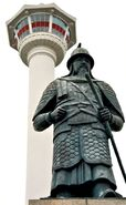 Admiral Yi Sun-Shin statue in Yongdusan Park in Busan, South Korea