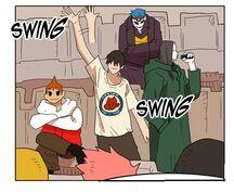 Yopi waving at the ressurrected Team Yopi Land (Episode 131)