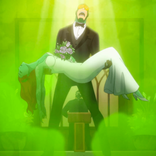 Kite Man holds Ivy as their wedding is hijacked by the <a href=