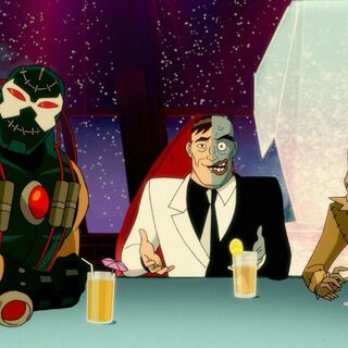 Scarecrow with Two-Face and Bane at Joshua Cobblepot's bar mitzvah
