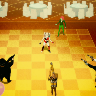 The Penguin, Scarecrow, and Two-Face surround Harley and Ivy