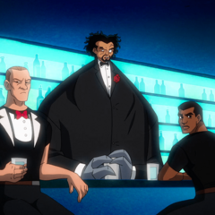 King Shark hidden in a suit with Doctor Psycho on top of him