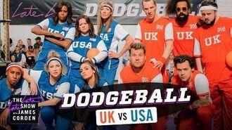 Team USA v. Team UK - Dodgeball w Michelle Obama, Harry Styles & More - LateLateLondon