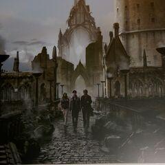Трио покидает школу после Битвы за Хогвартс (концепт)